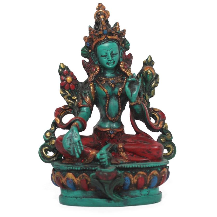 Cream Resin Statue of green Tara