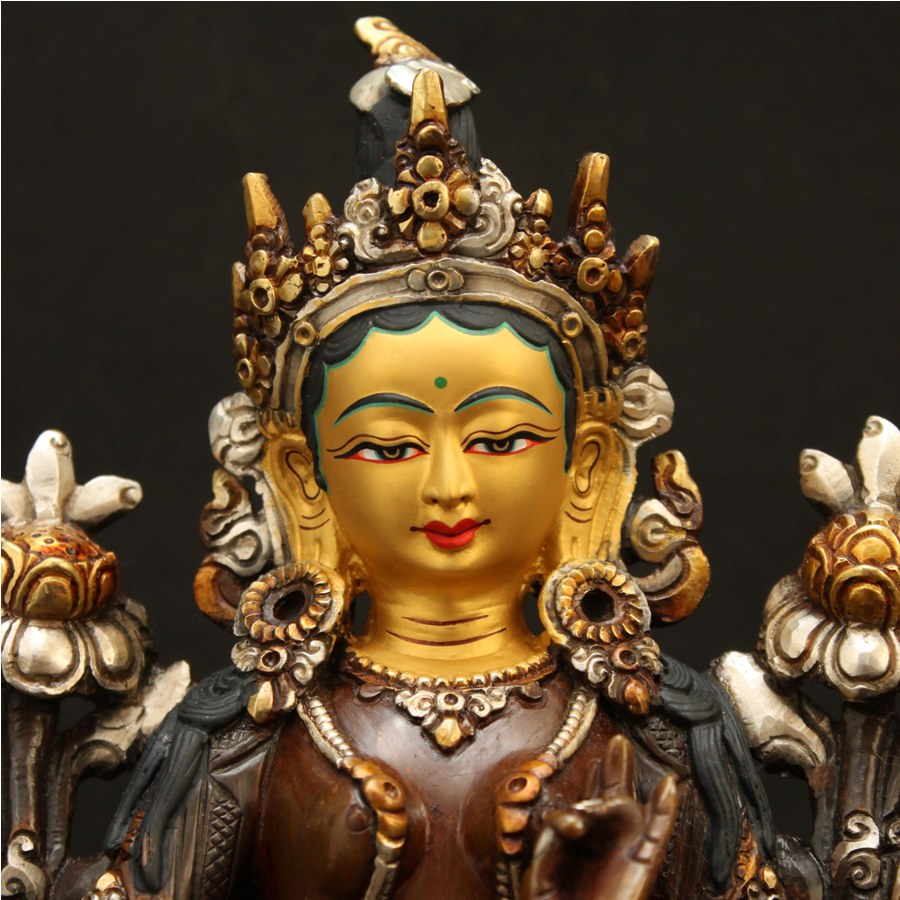 VAJRASATTVA STATUE, SILVER AND GOLD PLATED