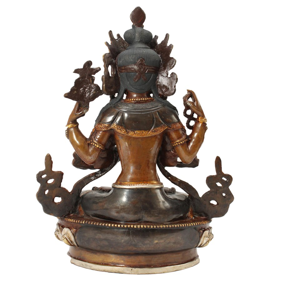 AVALOKITESHVARA STATUE, SILVER AND GOLD PLATED