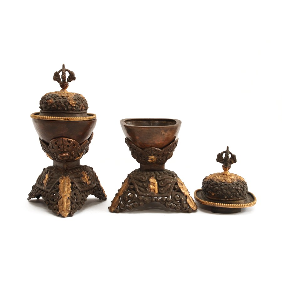 ANTIQUE STYLE KAPALA SET IN COPPER, MASTER QUALITY