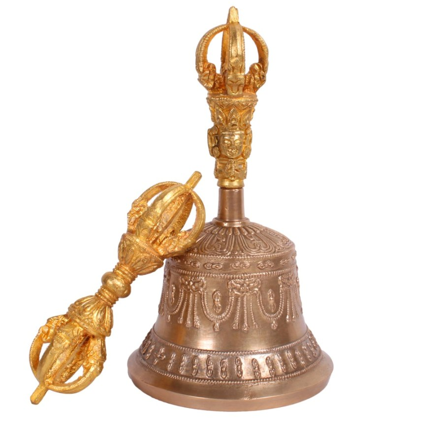 HIGH QUALITY FIVE PRONGED VAJRA AND BELL SET FROM DEHRADUN, STANDARD SIZE